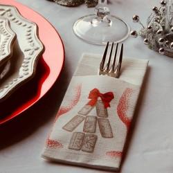 Tasca porta posate natalizio 40x32 Stappo rosso carta a secco 1200pz