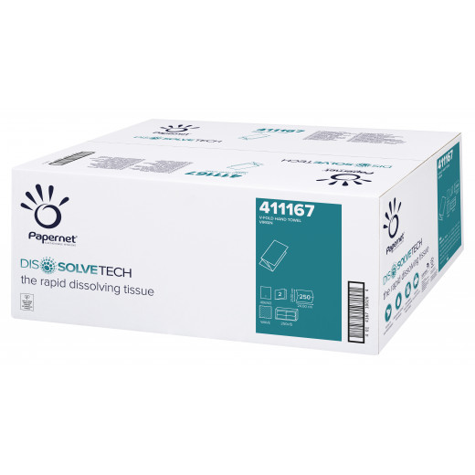 Asciugamano piegato V Papernet DISSOLVETECH in pura cellulosa