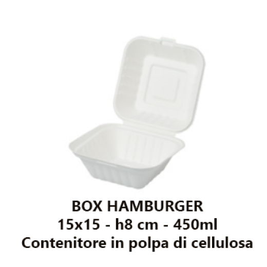 Box hamburger monouso take away biodegradabile e compostabile in Polpa cellulosa 450 mL - 50pz