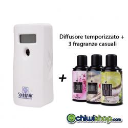 Diffusore Deodorante Temporizzato Ambiente Spring Air + 3 Fragranze Spray Miste