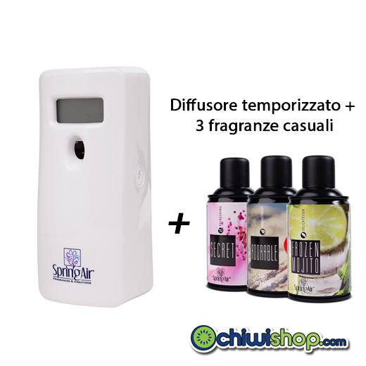 Diffusore Deodorante Temporizzato Ambiente Spring Air + 3 Bombolette Spray Miste